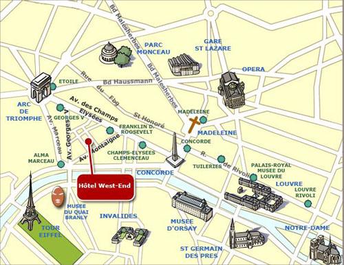 Hotel west end paris for Paris hotel map